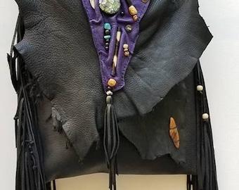 Black and Purple Deer Hide Leather Bag