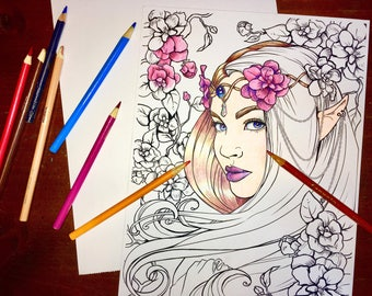 Two Printable DIGITAL Adult coloring pages - Elven Fairy Fantasy - Freckles Fairy Chest