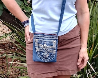 Crossbody bag denim, cell phone jeans bag, Rock Revival jeans, messenger bag, hip bag, tote bag denim, shoulder bag, repurposed jeans D86