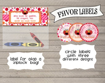 Elmo Inspired Favor Tags