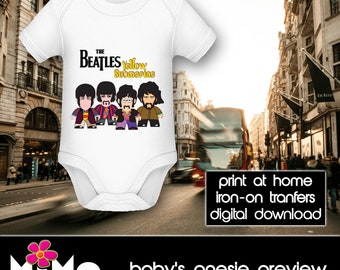 PRINTABLE - Letter size - The Beatles - Yellow Submarine - DIY T-Shirt Iron on transfer file – Jpg/Png 300dpi.
