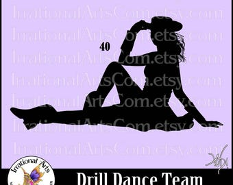 Drill Dance Team Silhouettes pose 40 - with 1 EPS & SVG Vinyl Ready files and 1 PNG Digital Files and Small Commercial License