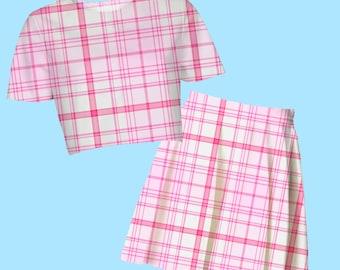 sugar plaid crop top or skater skirt | pastel kawaii neogal hipster 90s clueless cute sweet plus size
