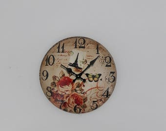 Round 25 mm glass Cabochon. Domed top and flat bottom. Clock watch time clock. Vintage, retro fashion Chic Paris theme. Boudoir.