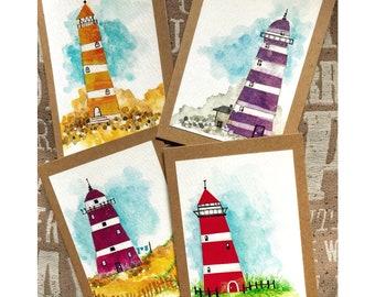 Set of 4 Lighthouse Cards, Original Artwork