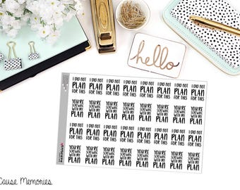 "SNARK SERIES: ""You're Screwing With My Plan"" Paper Planner Stickers"