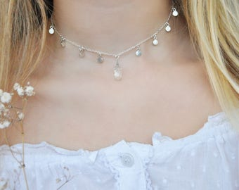 Handmade Silver Plated Disc and Crystal Choker Necklace | Clear Quartz | Boho | Layering | UK