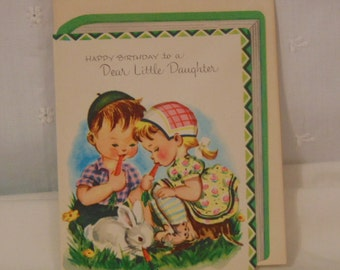 Daughter, Birthday Card, Unused, Dear Little Daughter , Last One,Happy Birthday Card ,1950's, Little Boy ,Girl Doll Dog