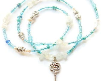 Aquamarine Key to My Heart Waist Beads, African Waist Beads, Blue Belly Chain,  Gemstone Belly Chain, African Accessories,