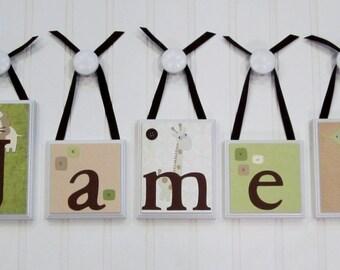 Name Blocks . ROUTED EDGE . Nursery Name Blocks . Nursery Decor . Baby Name Blocks . Wood Name Blocks .  Safari . Jungle . Animal Theme