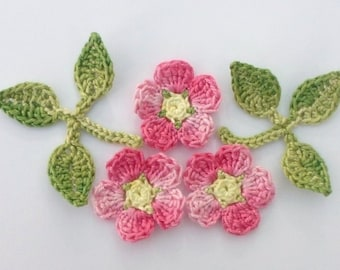 Crochet applique, applique flowers, 3 wild roses and leaves, cardmaking, scrapbooking, appliques, craft embellishments, sewing accessories