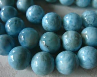 LARIMAR Beads, Round Smooth / 7 mm, LUXE AA / Aqua Blue, Dominican Republic wholesale roundgems.7b true solo