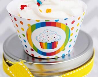 Rainbow Pretty Printable Cupcake Wrappers, Cupake Wraps, Rainbow Party Printables, Rainbow Cupcake Wrappers, Rainbow Party, Download