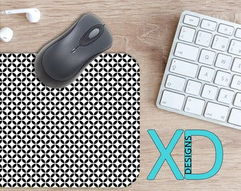 White Diamond Mouse Pad, White Diamond Mousepad, Petal Rectangle Mouse Pad, Black, White, Petal Circle Mouse Pad, Diamond Mat, Computer