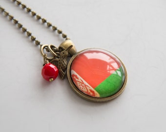 Flag of Belarus Necklace - Belarusian Flag - World Flags - Patriotic Pendant Custom Jewelry Travel Necklace Flag Eastern Europe Red Green