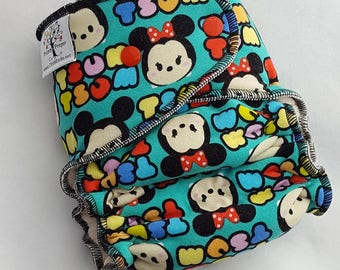 CLOTH DIAPER One Size (11-35#) Bamboo HYBRID Fitted,Tsum Tsum Diaper,Tsum Tsum,Minnie Diaper,Mickey Diaper,One Size Cloth Diaper,Baby Gift