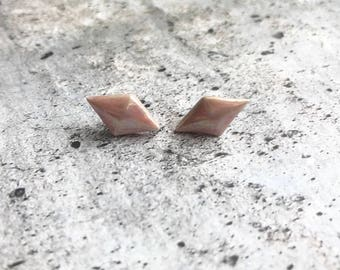 Porcelain Earrings//Ceramic Jewelry// Pearl Luster//Stud Earrings//Marquise//Valentines Day
