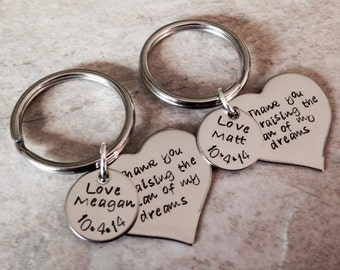 Set of mother in law keychains necklaces personalized mother of the bride groom thank you for raising the man woman of my dreams
