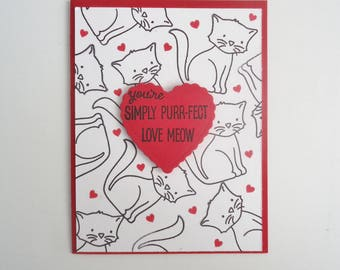 Kitty Cat Valentine's Card - handmade - You're Simply  Purr-fect - Love Meow - Cat Lover's card - Red heart card - Kids Valentine.