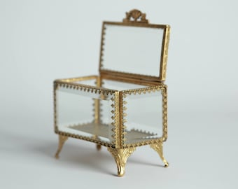 Sold--pending sale for Ashley. Vintage French Style Gilt Gold Jewelry Casket Beveled Glass Vanity Dresser Box Rectangular Rococo Paw Feet S