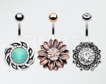 3 Pcs of Vintage Non Dangle Belly Ring Pack