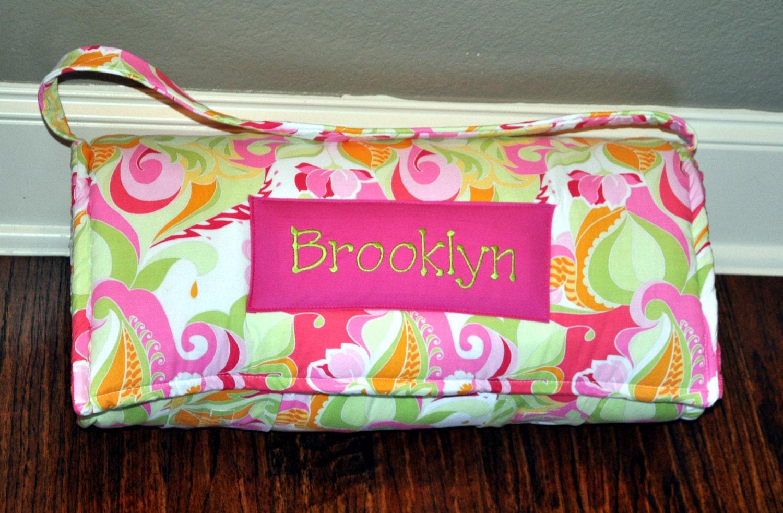 Nap Mat Monogrammed Extravaganza Pink Flower Nap Mat With