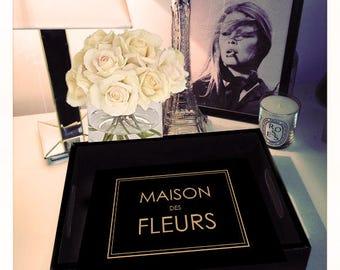 MAISON des FLEURS black gloss tray