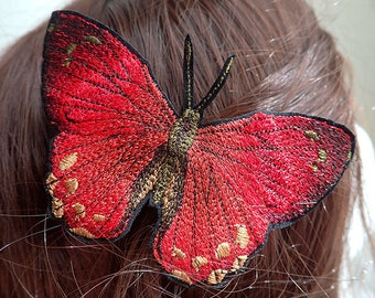 Red Cardinal Butterfly hair comb