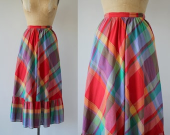vintage 1980s skirt / 80s plaid maxi skirt / 70s ruffle hem skirt / 80s rainbow plaid skirt / size small medium 27 waist