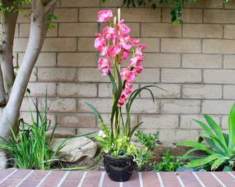 Silk Flower Arrangement- Pink Orchid with Bamboo (X-Large) (S18-86)