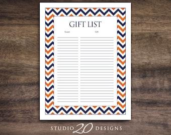 Instant Download Navy Orange Gift List, Orange Navy Chevron Baby Shower Gift Registry, Blue Orange Chevron Gift Registry #60D