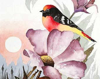 Dawn, Original Bird and Flower Watercolor Painting, Bird Art, Nature, Animal Lovers, Gifts