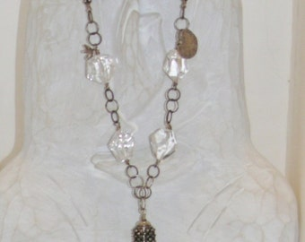 Rock Ice Crystal Quartz Hilltribe Sterling Silver Necklace