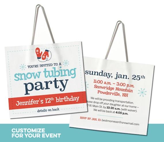Tubing Sledding Party Lift Ticket Invitation Free