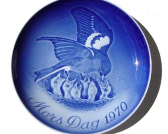 Bing & Grondahl Mother's Day Plate 1970 Bird Baby Chicks Mors Dag