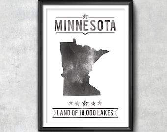 MINNESOTA State Typography Print, Typography Poster, Minnesota Poster, Minnesota Art, Minnesota Gift, Minnesota Decor, Minnesota Love, State