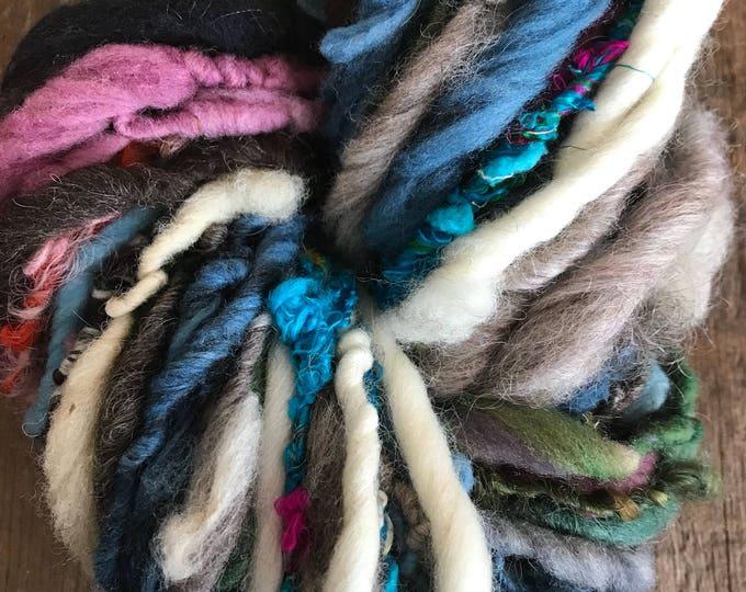 Maybe Baby, wild art yarn, 52 yards, multicolored textured art yarn, handspun, bulky wild yarn, weaving yarn