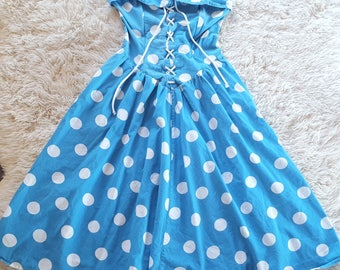 Vintage Blue & white polka dot 80's does 1950s cotton swing lace up dress size 12 Medium
