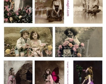 GIRLS digital collage sheet vintage photos images french paris postcards children shabby altered art ephemera pink sweet printables DOWNLOAD