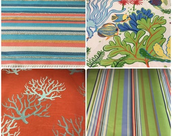 Outdoor Water Repellent Indoor Coral Nautical Fish Stripe Print Pattern Upholstery Fabric Orange Lime Green Aqua Blue Black Red Cream ST