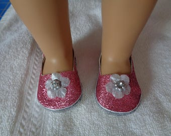 """Pink Sparkle Princess 18"""" Doll Sandals-Shown on my american girl doll Also fits kidz N Cats Dolls"""