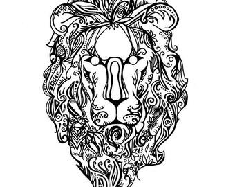 Downloadable Tribal Lion Print
