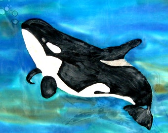 Art, Painting, Orca Whale, Killer Whales, Shamu, 30x30inches, Wall Hanging, Save The Orcas, Hand Designed