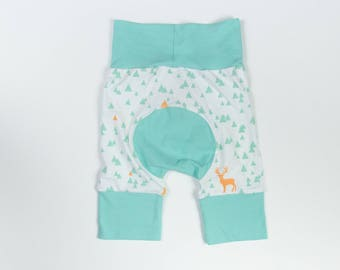 Bucks and Light Mint/Teal Baby Big Butt Shorts - Grow with me shorts - Cloth diaper friendly - Toddler - Gift