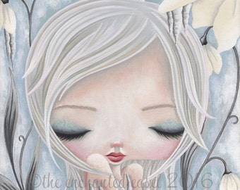 Girls Art Print, Winter Fairy, Girls Wall Art, Snow, Whimsical, Fantasy, Girls Room, Snowdrops, Icicles, Beautiful Girl