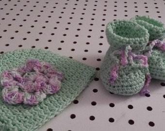 Crocheted Booties/Hat