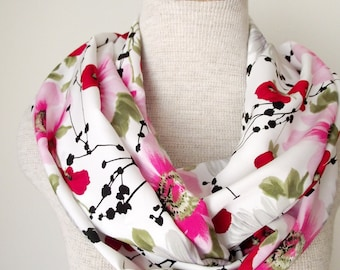 Mother's Day Gift - READY TO SHIP - Infinity Scarf - Poppies Daises and Dogwoods Floral Loop Infinity Skinny Scarf