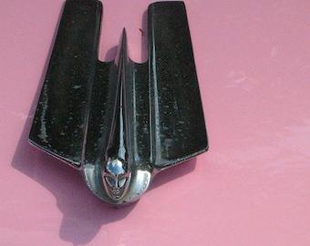 Automobile photograph pink cadillac silver hood ornament antique car wall decor decorative art