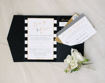 Classic Black White and Gold Wedding Invitation Suite Sample RESERVED