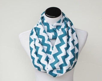 Turquoise Scarf Chevron Infinity Scarf soft jersey knit loop scarf white turquoise circle scarf gift for her, gift for mom and girl